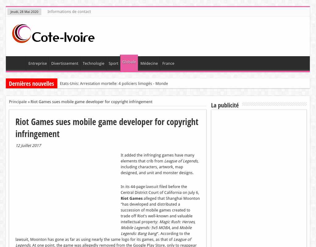 Riot Games sues mobile game developer for copyright