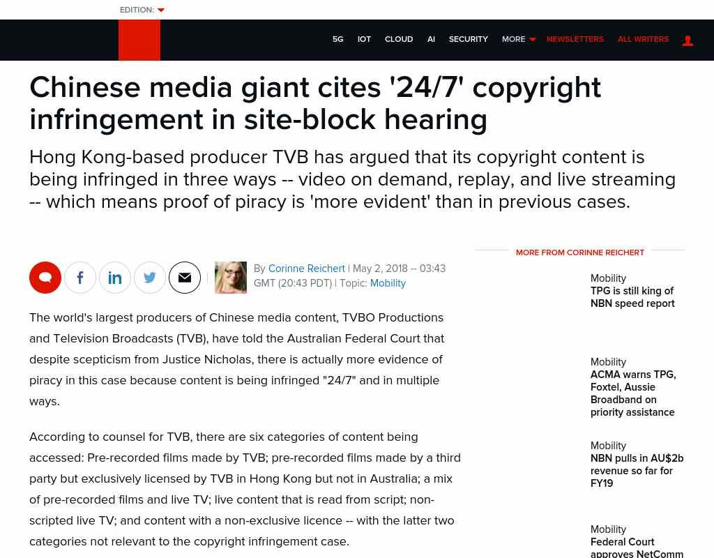 Chinese media giant cites '24/7' copyright infringement in