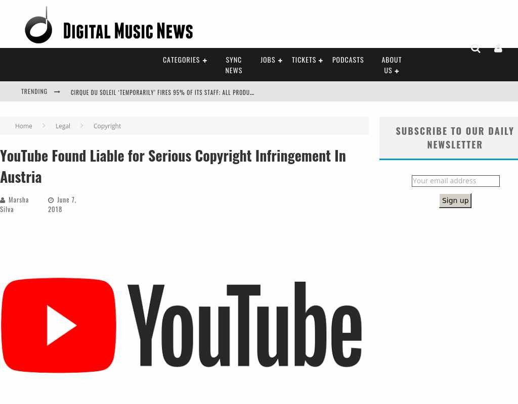 YouTube Found Liable for Serious Copyright Infringement In