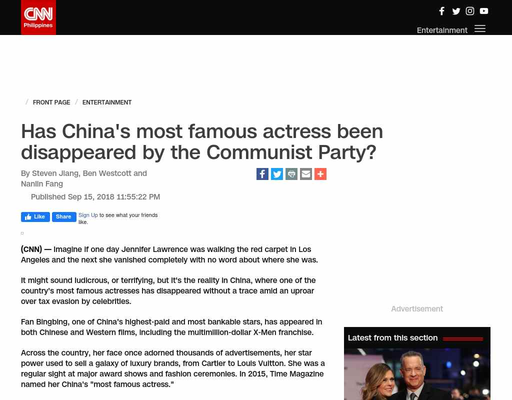 Has China's most famous actress been disappeared by the Communist