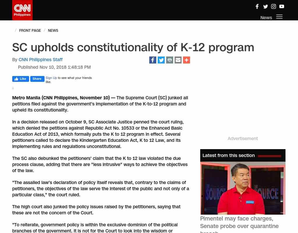 k 12 law philippines