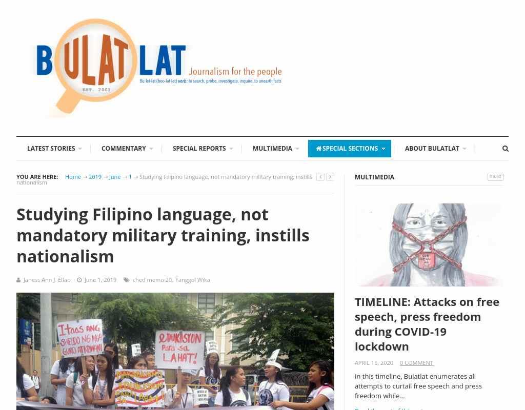 Studying Filipino language, not mandatory military training
